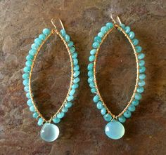 Gold filled wire wrapped chalcedony hoop by VivianRDesigns on Etsy, $72.00
