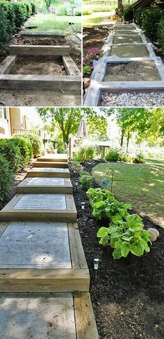 Got a slope in your yard? You can add DIY garden stairs with these tutorials. Outdoor stairs and garden steps lead you through your garden! Outdoor Walkway, Outdoor Steps, Outdoor Landscaping, Outdoor Gardens, Landscaping Ideas, Landscaping With Railroad Ties, Landscaping Edging, Hanging Gardens, Outdoor Plants