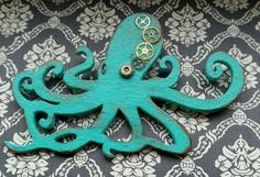 Steampunk, vintage style, distressed, ooak, handmade octopus brooch in Jewellery & Watches, Costume Jewellery, Brooches & Pins | eBay