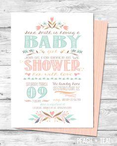 Baby Sprinkle Invite Vintage Baby Shower by EmeraldAvenueDesigns