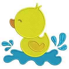 Little Baby Duck Splashing in the Water Filled Machine Embroidery Design Digitized Pattern-700x700