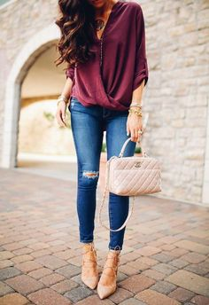 Outfits con combinaciones en tono tinto | Belleza