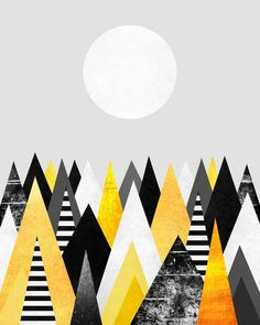 Poster | YELLOW PEAKS / VERSION 2 von Elisabeth Fredriksson | more posters at http://moreposter.de