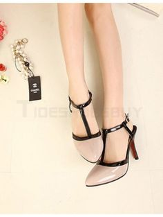 Formal Nude Color PU Leather T-Strap Pointy Toe Shoes