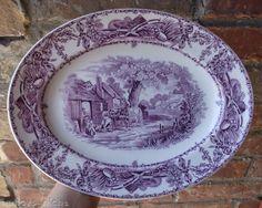 Purple Transferware Platter Children Horses Pastoral Davenport Rural Scenes. $89.99, via Etsy.