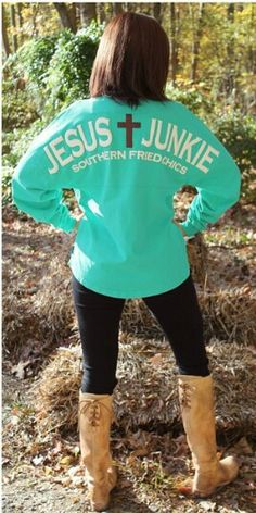 Love, LOVE, LOVE this Jesus Junkie shirt found at www.Southernfriedchics.com