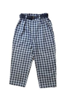 pants for kids in tartan material with zip in the front and belt.