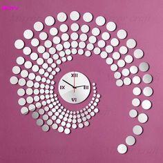 181pcs/lot round Mirror wall watch Sticker Clock 3d three-dimensional living room back ground Home decoration mirror wall Clock