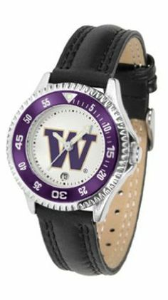 Washington Huskies Competitor Ladies Watch with Leather Band by SunTime. $74.55. The hottest sports watch on the market, the Competitor features the Washington Huskies team logo boldly displayed on the dial along with a colorful rotating timer/bezel, quartz accurate movement and leather/nylon strap. The combined leather underneath and nylon on top makes the watch water resistant as well.¶Wear it to a game, while watching a game or just to show off your NCAA pride wherever you go!