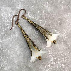 White Trumpet Flower Earrings