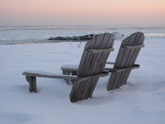 Lonely chairs on Lake Superior