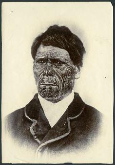 Portrait of a Maori man with facial tattoos, c 1896