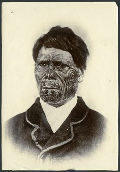 Portrait of a Maori man with facial tattoos, c 1896