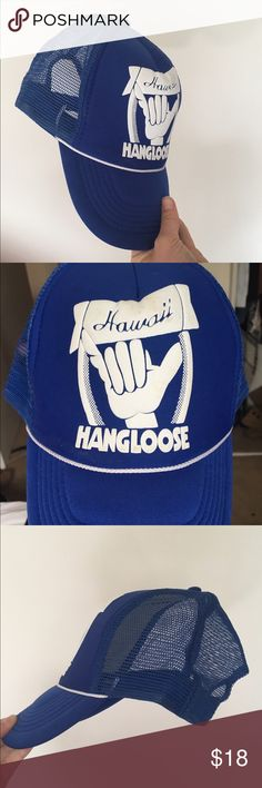 "Hawaiian hang loose trucker hat THIS HAT IS SOOOO DOPE Royal blue ""hang loose"" trucker hat, the back side is mesh and was actually purchased in Hawaii! 🌺🌺🌸🌸 never been worn! Accessories Hats"