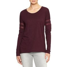 Gap Factory Mesh Stripe Long Sleeve Tee ($15) ❤ liked on Polyvore featuring tops, t-shirts, pinot noir, regular, striped tee, purple long sleeve t shirt, purple top, stripe long sleeve tee and gap t shirts