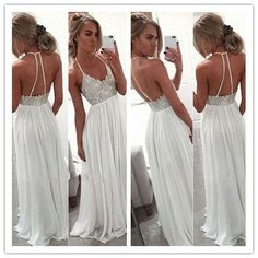White Chiffon Sequin Long Prom Dress For Teens Backless Long Prom Dresses 2016