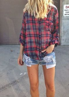 Flannel + cutoffs.
