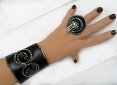 Bracelet and ring black zipper and leatherette set by ZipperDesign, $29.90