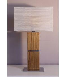 Lámpara sobremesa con pie en madera