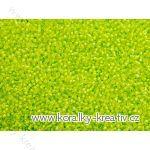 Korálky - rokajlové perličky krystal se zařivým zeleným průtahem 8/0 Krystal, Crystal