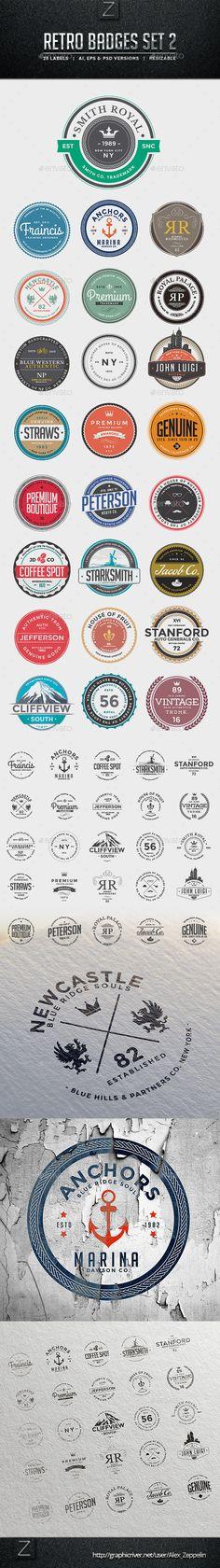 Retro Badges Set | #retrobadges #retro #badges |Download: http://graphicriver.net/item/retro-badges-set-2/10070679?ref=ksioks