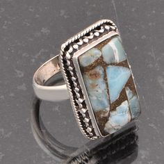 925 STERLING SILVER COMPOSED LARIMAR RING JEWELLERY 7.58g DJR5358 #Handmade #Ring