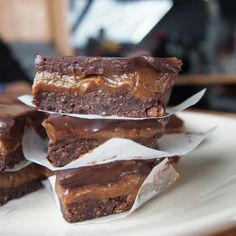 Raw Caramel Brownie Slice   I had wanted to make vegan caramel slices for a while, and after deciding the best caramel substitute to use would be date caramel, I figured to go one better and make the whole thing raw. @agrumpysailor