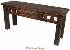 Rustic barn wood sofa table with drawer. This weathered wood sofa table features iron drawer pulls and rustic nailheads to complement any southwest style décor. Fast Furniture, Wood Furniture Living Room, Furniture Dolly, Furniture Sale, Unique Furniture, Rustic Furniture, Sofa Furniture, Rustic Sofa Tables, Wood Sofa Table
