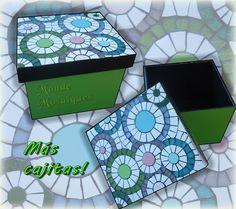 Caja multiuso, circulos! Azulejos y mosaico veneciano.