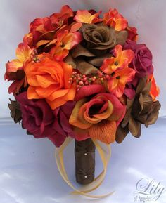 17 pieces package silk flower wedding decoration bridal bouquet fall orange lily of angeles orbr02