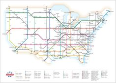 The U.S. highway system depicted in subway map fashion. Which just really makes me want to go for a long drive cross country.