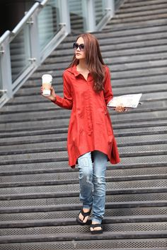 Great shape and color.  Spring Dress Long Sleeve Dress Shirt Loose by Sophiaclothing, $69.99