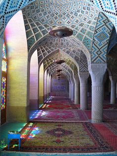 Nasr ol Molk (Nasir al-Mulk Mosque) mosque in Shiraz, Iran. http://en.wikipedia.org/wiki/Nasir_al-Mulk_mosque photo by dynamosquito (flickr) #mosque #iran #photography #colors #travel #places