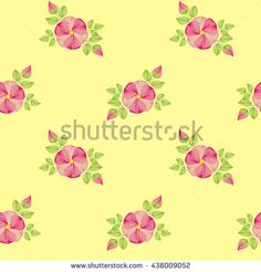 Seamless pattern with dogrose flowers, on a yellow background.  A background for a seal, wall-paper, production of fabric, a packaging paper, cards. Basis for design.