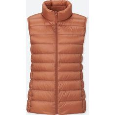 UNIQLO Women's Ultra Light Down Vest (150 SAR) ❤ liked on Polyvore featuring outerwear, vests, light orange, down filled vest, brown vest, down vest, uniqlo and uniqlo vest