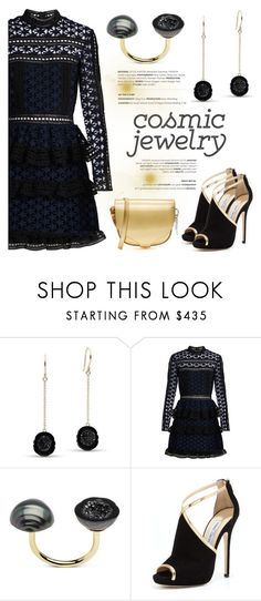 """""""Cosmic Jewelry"""" by littlehjewelry ❤ liked on Polyvore featuring self-portrait, Jimmy Choo, Sophie Hulme, contestentry, pearljewelry, littlehjewelry and cosmicjewelry"""