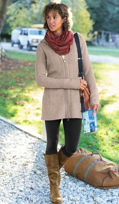 Athleta - Hampshire Outfit -Hampshire Sweater (Ecru Heather) -Chaturanga Tight (Black) -Putney Boot by Off the Beaten Track (Mud) -Organic Cotton Demi Sleeve Scoop (Dove) -Geo Tribal Shirred Infinity Scarf (Spice) -Delite Travel Crossbody Bag by Ellington (Tristan)