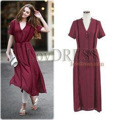 2015 Summer Fashion Wine Red women long dress Short Sleeve chiffon dress V- neck lady party dress with Side Split S-XL d60373821