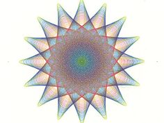 """Pen & Ink Drawing in Rainbow Colors, Original Abstract Art in circle shape star with sixteen points, 8"""" x 8"""" Wall Art"""