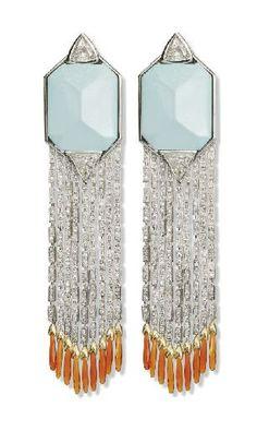 turquoise & diamond and fire opal earrings