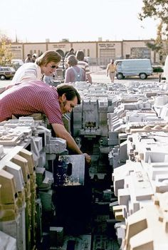 Star Wars (1977); behind the scenes, filming the trench battle of the Death Star.