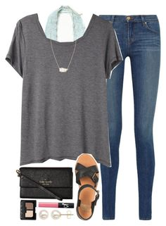 """""""ootd - school enrollment & schedule pick-up"""" by okieprep ❤ liked on Polyvore featuring J Brand, Free People, Organic by John Patrick, Jack Wills, Kate Spade, Honora, NARS Cosmetics and Kendra Scott"""