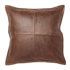 Pottery Barn Pieced Leather Pillow Cover ($130) ❤ liked on Polyvore featuring home, home decor, throw pillows, pillows, brown, cushions, decor, square throw pillows, brown leather throw pillows and brown throw pillows