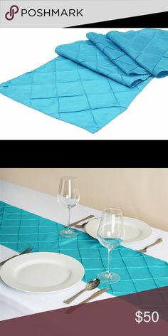 """Set Of 30 Caribbean Blue pin-tucked table liners Measures 12x108"""". Used once and cleaned. Very pretty blue- excellent condition   Asking $50 Other"""