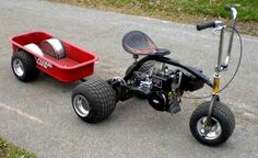 Hot little trike with tubbed out wagon trailer Go Kart, Radio Flyer Wagons, Custom Trikes, Karts, Drift Trike, Red Wagon, Kids Ride On, Mini Bike, Mini Motorbike