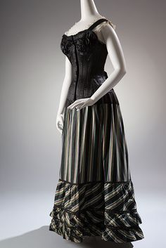 Corset (M.A. Spencer Company) & Striped Petticoat: ca. 1890-1898, striped polished cotton, silk satin.
