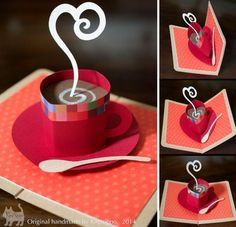 pop up card hot coffee 【珈琲カップ】ポップアップカード Pop Up Karten, Karten Diy, Pop Up Cards, Cute Cards, Cards Diy, Diy Popup Cards, Gift Cards, Kirigami, Tarjetas Diy