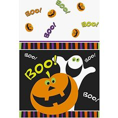 Pumpkin Boo Halloween Plastic Tablecloth 84 x 54 >>> For more information, visit image link. (This is an affiliate link)