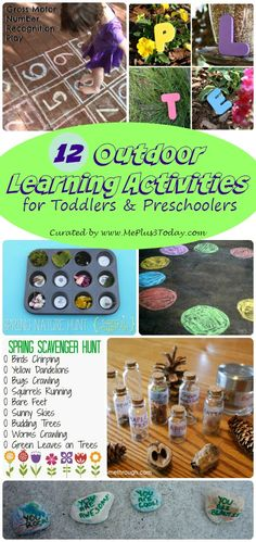 12 Outdoor Learning Activities for Toddlers and Preschoolers - So many great ideas to try this spring & summer! Love the printables from #6! - www.MePlus3Today.com