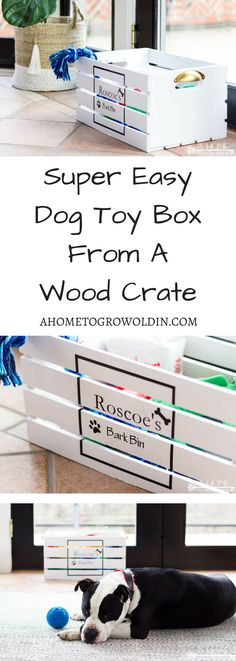 How To Make An Easy DIY Dog Toy Box is part of Toy Organization Crates - Using a wooden crate is a super easy way to make a toy box for your pampered pet! You'll be ready to start organizing your dog toys in just a few of hours! Dog Toy Storage, Stuffed Animal Storage, Diy Stuffed Animals, Stuffed Toy, Diy Pet, Diy Dog Toys, Pet Toys, Wooden Dog Kennels, Diy Dog Kennel